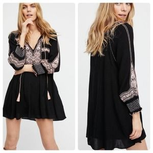 Free People Wind Willow Dress Black Embroidered